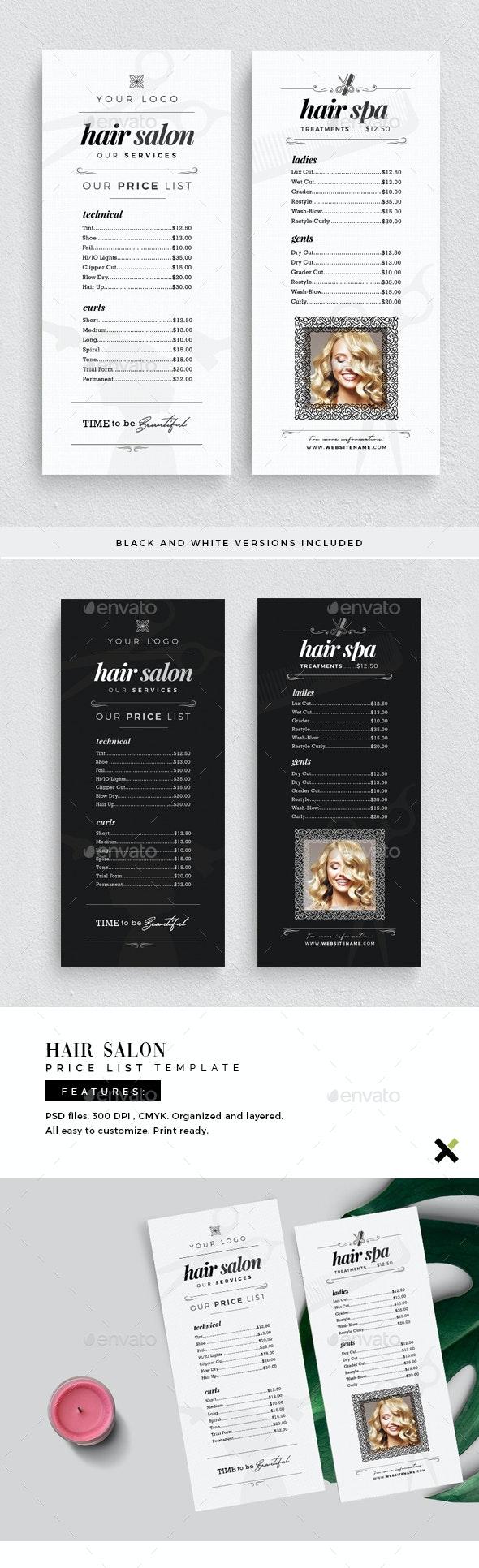 Hair Salon Price List Template - Flyers Print Templates