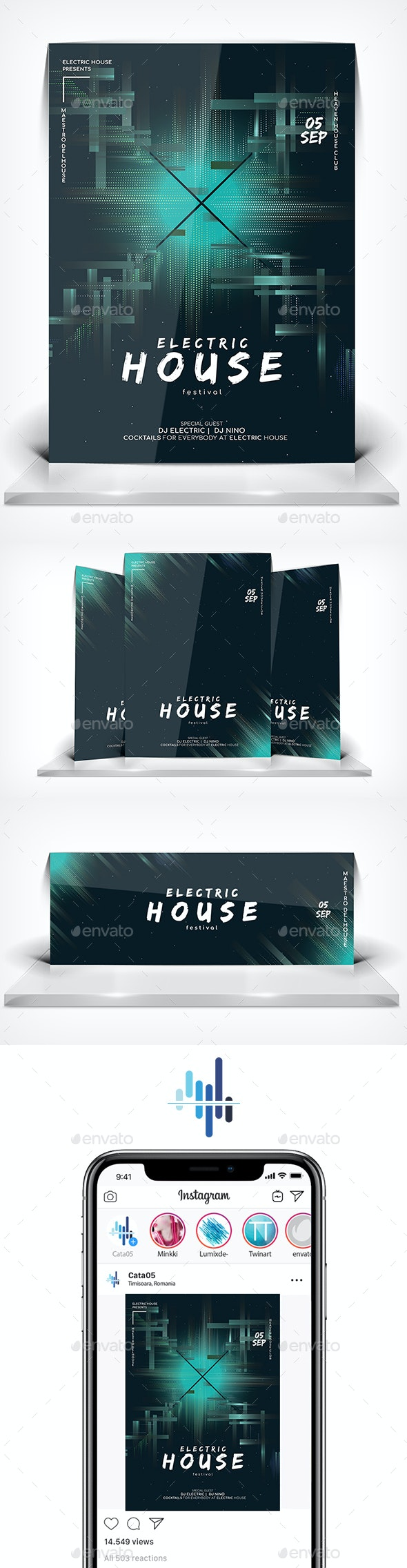 Electric House Festival - Flyers Print Templates