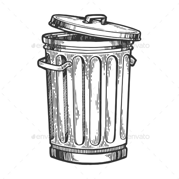 Metal Trash Can Sketch Engraving Vector - Man-made Objects Objects