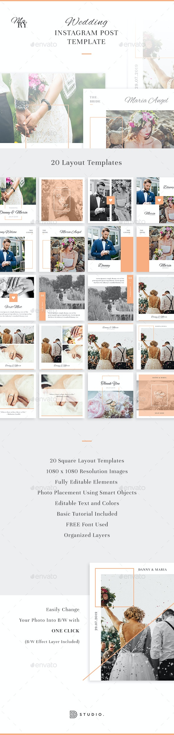 Mary - Wedding Instagram Post Template - Social Media Web Elements