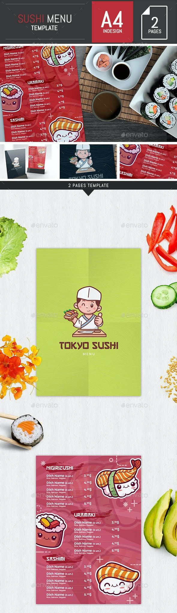 Sushi Restaurant Menu Template InDesign - Food Menus Print Templates