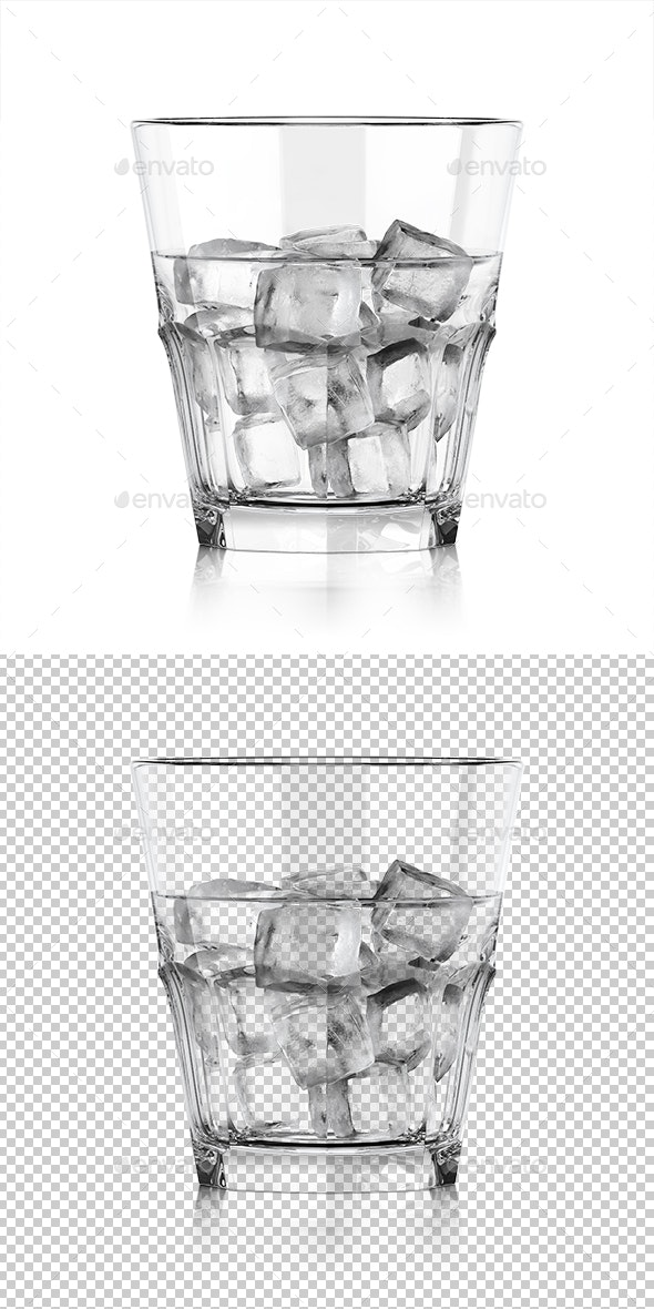 Whiskey Glass with Liquid and Ice - Objects 3D Renders