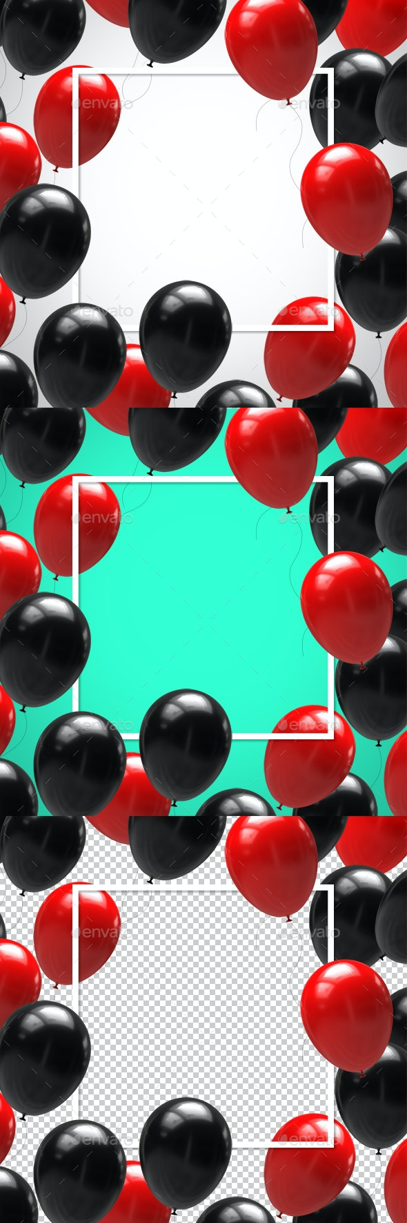 Balloons Red and Black in Square Frame - Objects 3D Renders