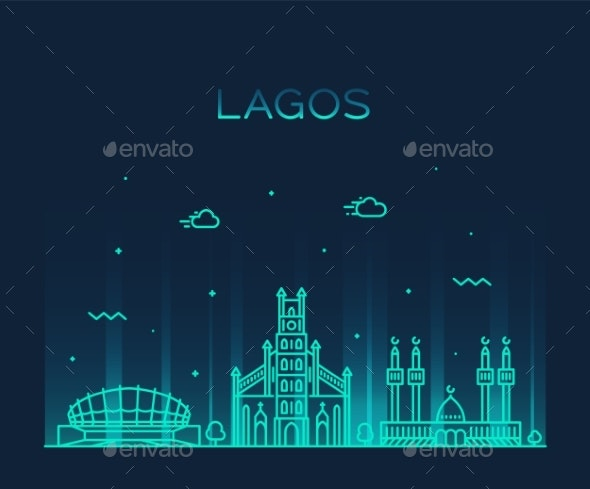 Lagos Skyline Nigeria Vector City Linear Style - Buildings Objects