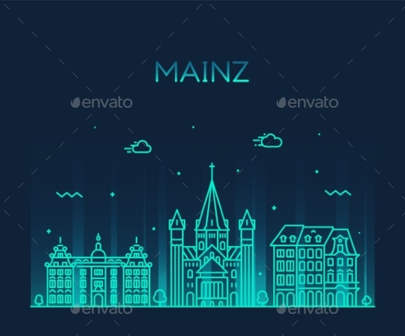 Mainz Skyline City Germany Vector Linear Style - Buildings Objects