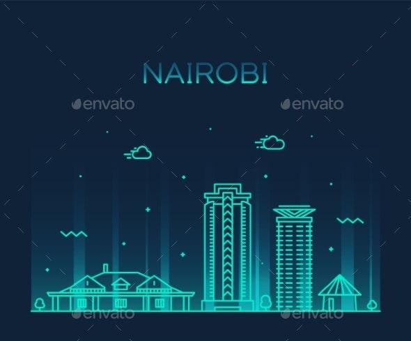 Nairobi Skyline Kenya Vector City Linear Style - Buildings Objects