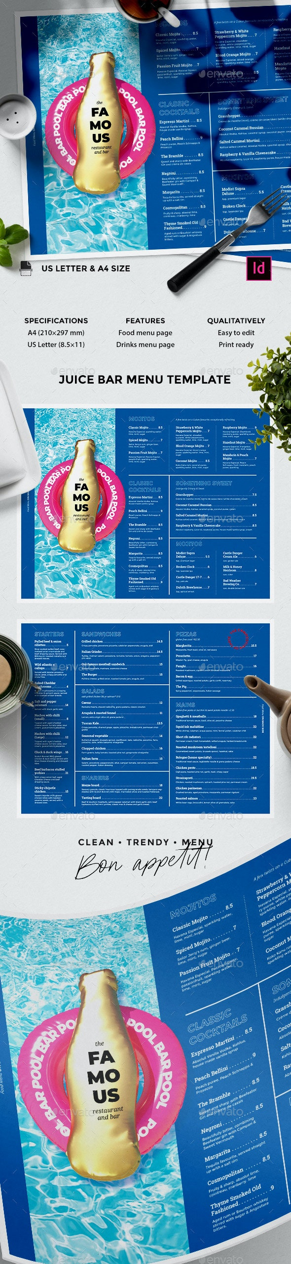 Bar Menu - Food Menus Print Templates