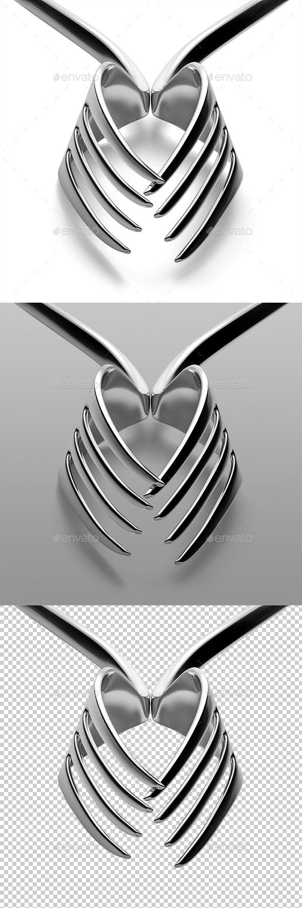 Forks Heart Silhouette - Objects 3D Renders
