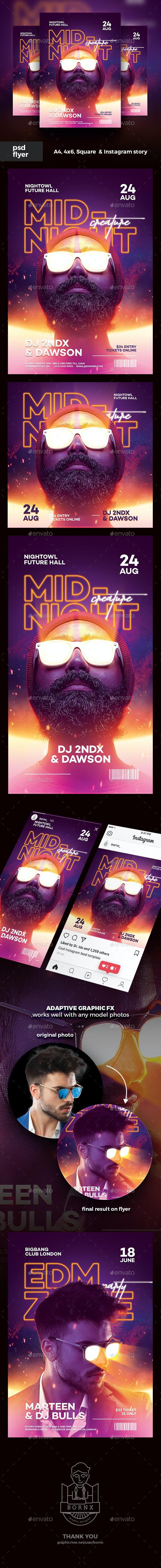 DJ Flyer Midnight Creature - Clubs & Parties Events