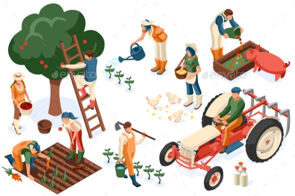 Flat Tractor Set Farmer - People Characters