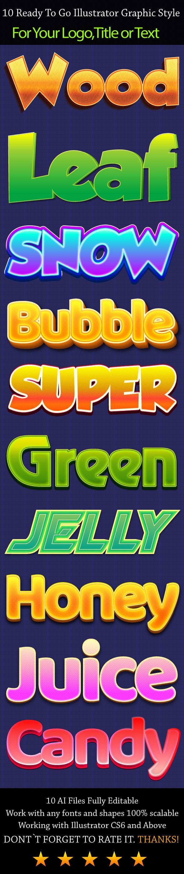 10 Glossy Illustrator Graphic Styles - Text Effects Styles