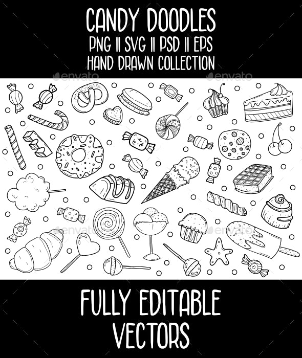 Candy Doodles Vector Icon Set - Food Objects