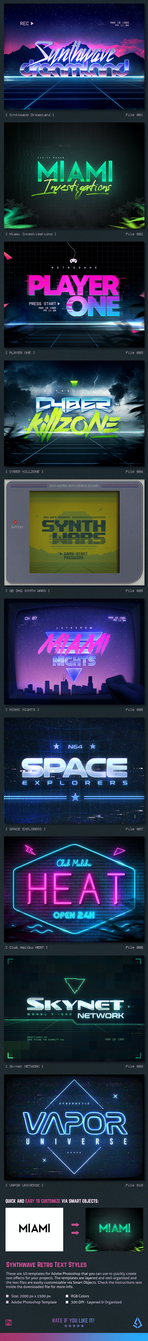 Synthwave 80s Retro Text Effects - Text Effects Actions