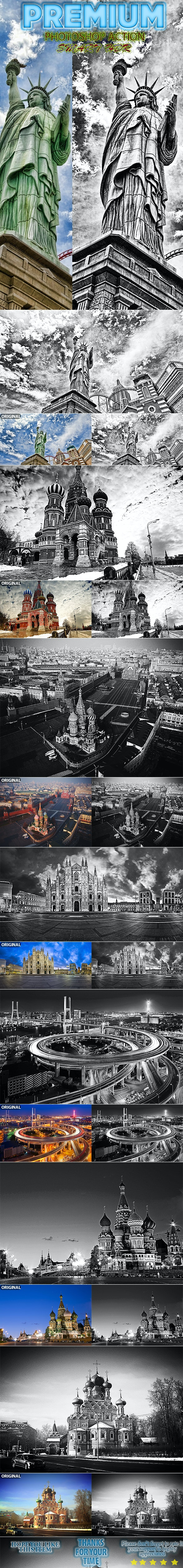 Smart HDR Black&White Photoshop Action - Photo Effects Actions