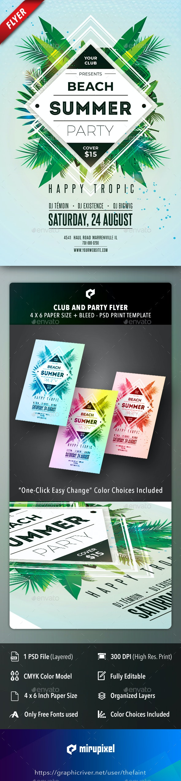 Beach Summer Club and Party Flyer - Clubs & Parties Events