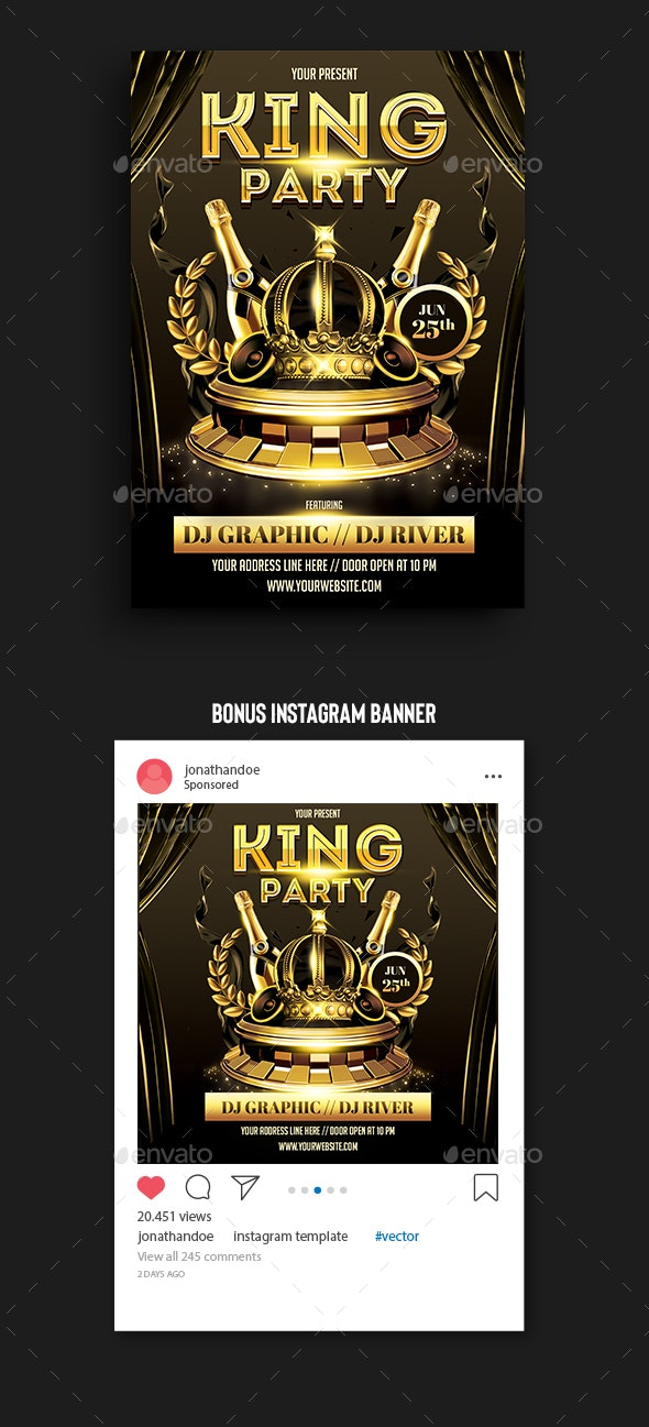 King Party Flyer Template - Clubs & Parties Events