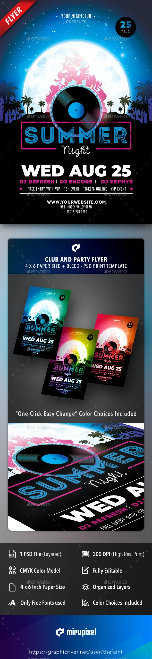Summer Night Club and Party Flyer - Clubs & Parties Events