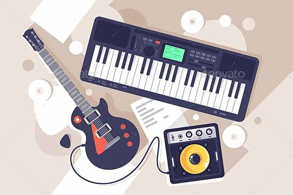 Flat Music Equipment with Electric Guitar - Miscellaneous Vectors