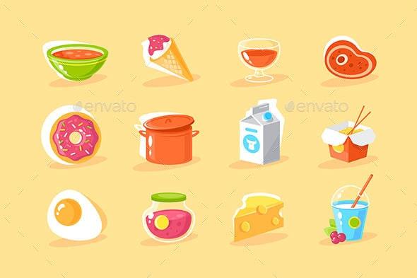 Flat Food Icon Set - Food Objects