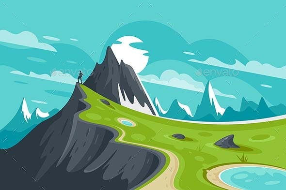 Flat Man on Nature Mountain Background with Sun - Landscapes Nature