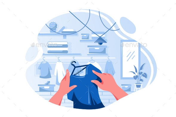 Flat Man or Woman Hand Choosing T-Shirt - Man-made Objects Objects