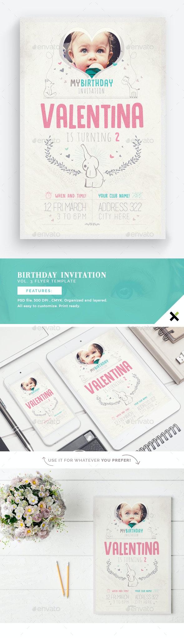 Birthday Invitation Vol.3 Flyer Template - Birthday Greeting Cards
