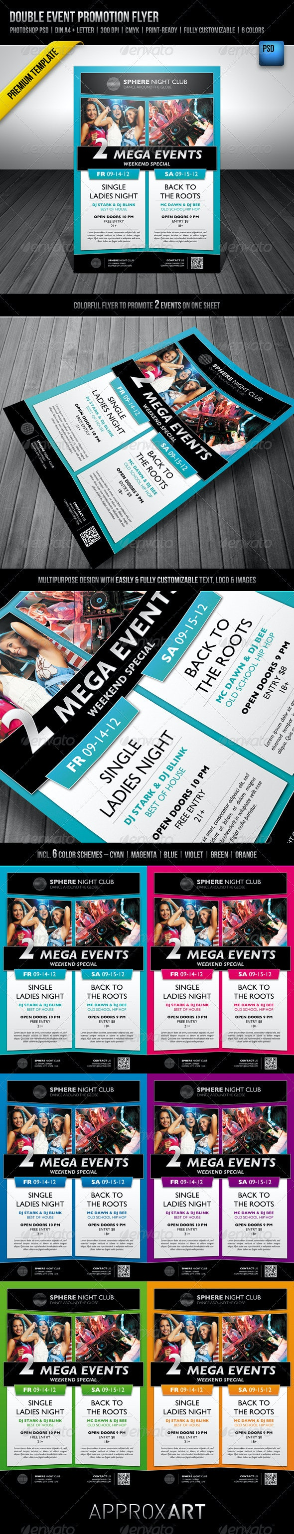Double Event Promotion Flyer - Clubs & Parties Events