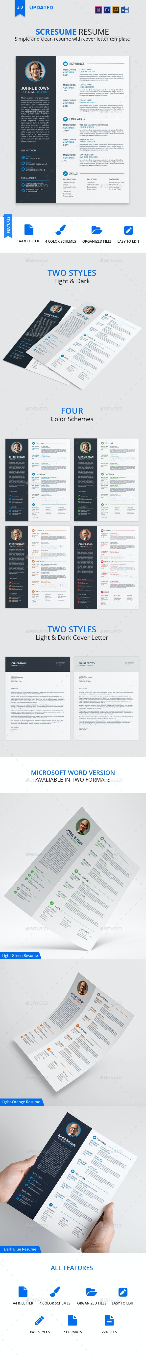 Scresume | Resume CV And Cover Letter Template - Resumes Stationery