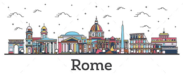 Outline Rome Italy City Skyline with Color Buildings - Buildings Objects