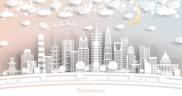 Shanghai China City Skyline in Paper Cut Style