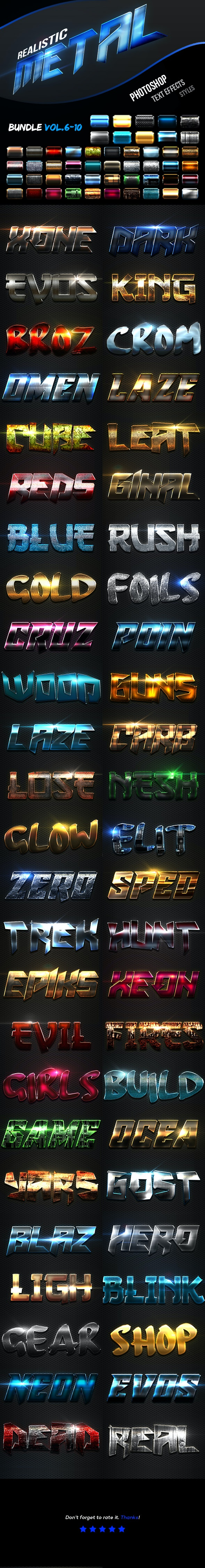 Realistic Metal Text Effects Bundle II - Text Effects Actions