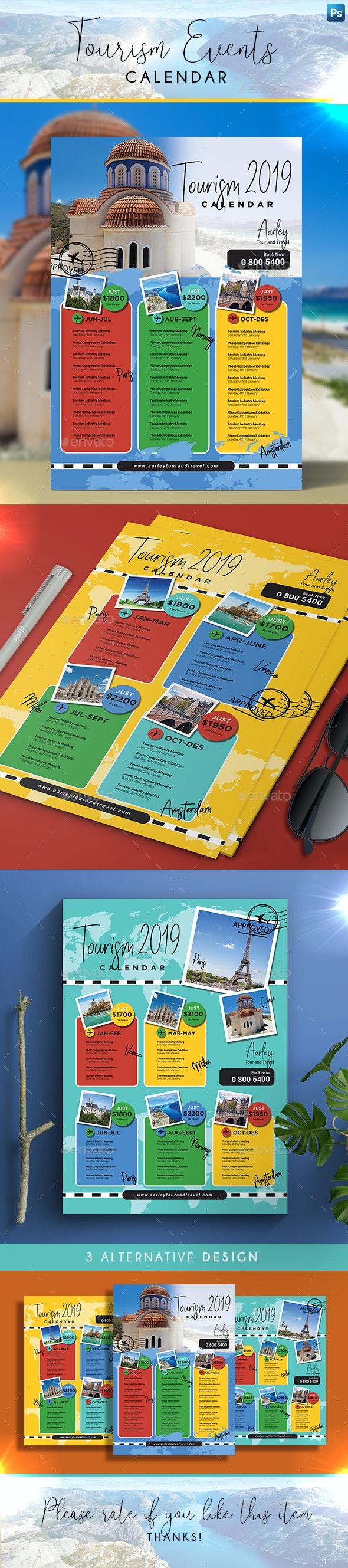 Tourism Events Calendar Flyer - Calendars Stationery