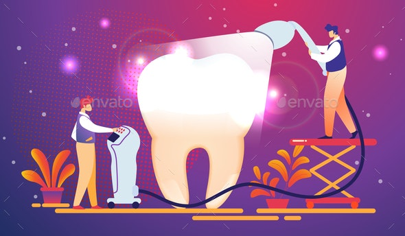 Dentists Put Light Curing Filling on Huge Tooth - Health/Medicine Conceptual