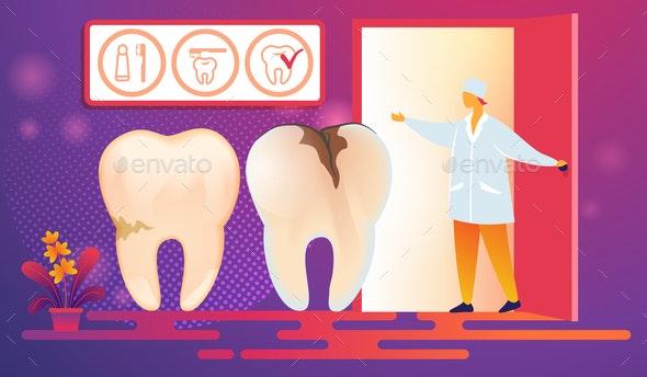 Bad Teeth with Caries Ready for Procedure - Health/Medicine Conceptual