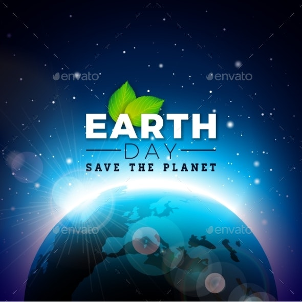 Earth Day Illustration with Planet and Green Leaf - Miscellaneous Seasons/Holidays