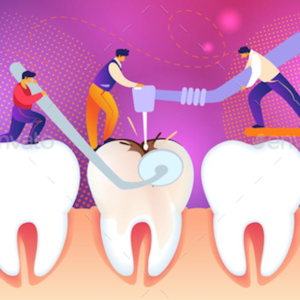 Men Treat Unhealthy Tooth with Caries Hole