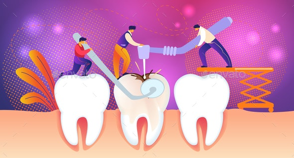 Men Treat Unhealthy Tooth with Caries Hole - People Characters