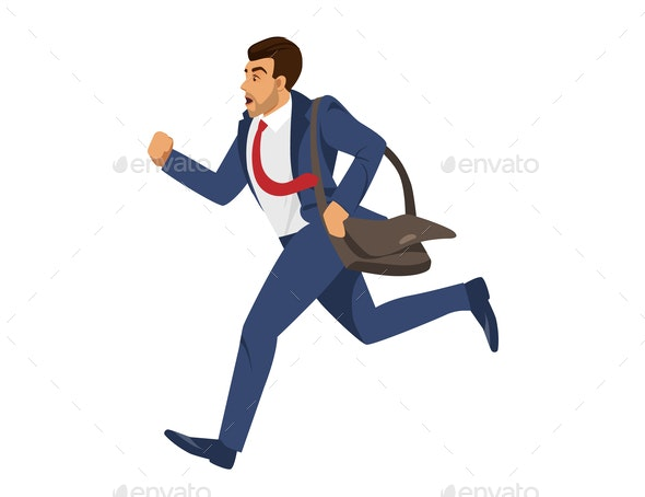 Man in Blue Formal Suit Run on White Background - People Characters