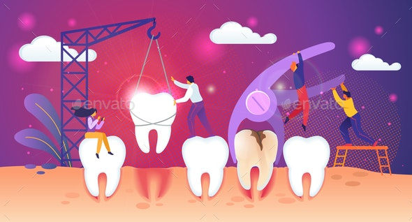 Unhealthy Tooth Removal Process - People Characters
