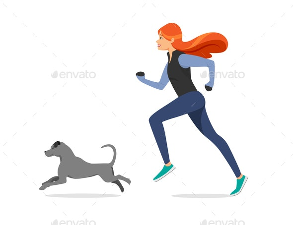 Girl with Ginger Hair in Sport Cloth Run with Dog - People Characters