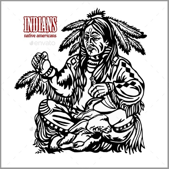 Indian Shaman in Ethnic Costume - Miscellaneous Vectors