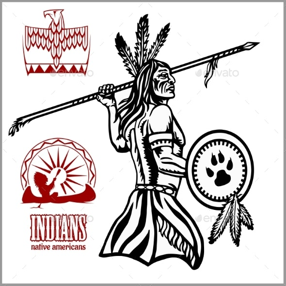 Native American Indian Man with Spear - Miscellaneous Vectors