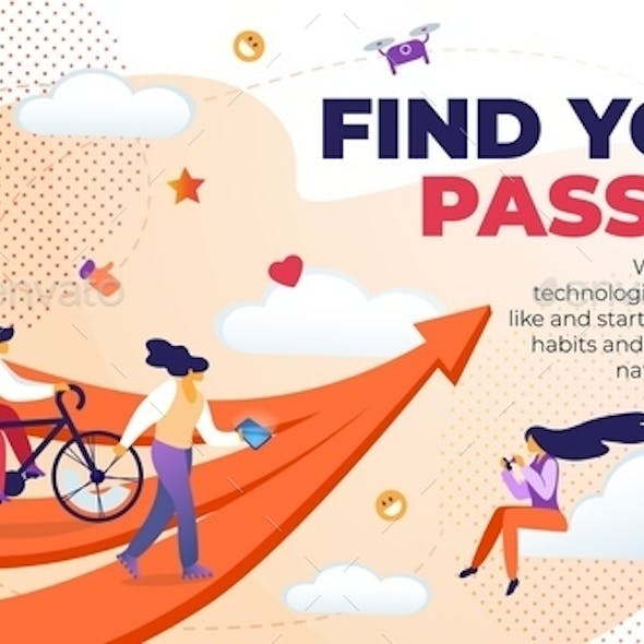 Horizontal Flat Banner Written Find Your Passion