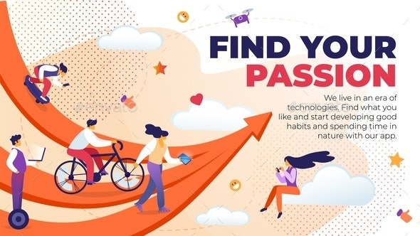 Horizontal Flat Banner Written Find Your Passion - Miscellaneous Conceptual