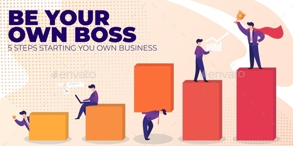Flat Banner Be Your Own Boss - Concepts Business