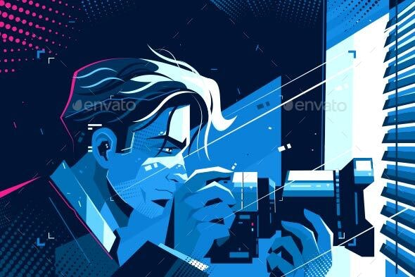 Detective with Photocamera - Media Technology