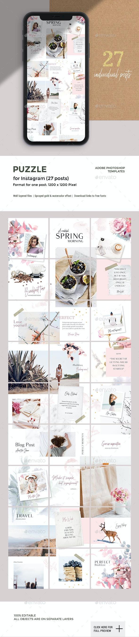 SPRING -Instagram Puzzle - Social Media Web Elements