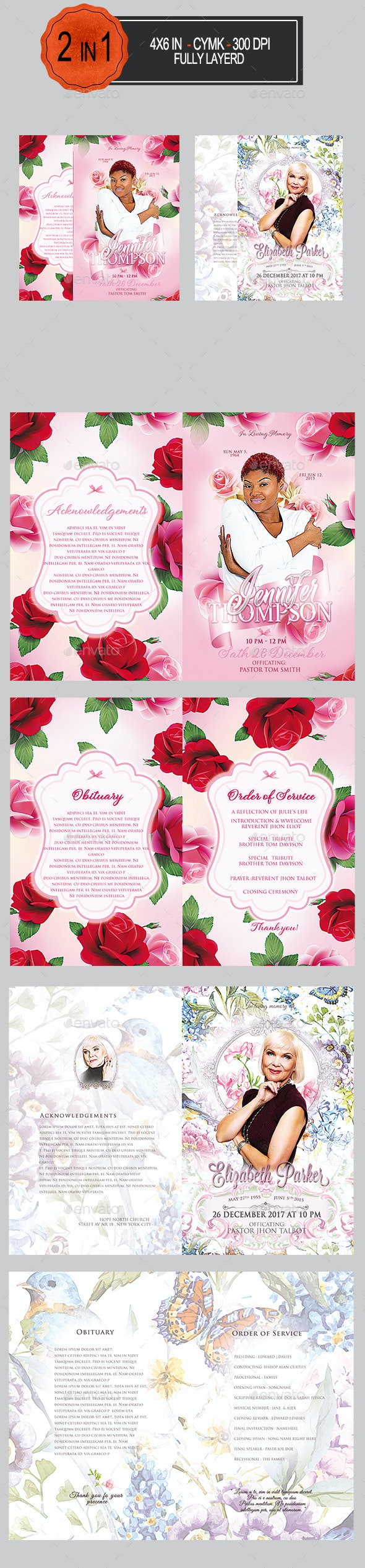 Funeral Program Template Bundle - Informational Brochures