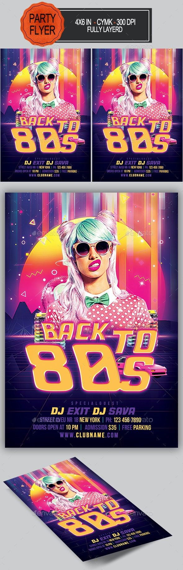 Back To 80s Party Flyer - Clubs & Parties Events