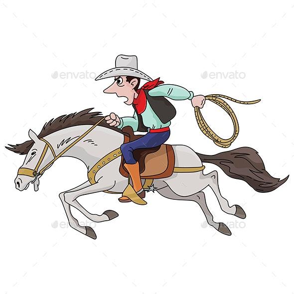 Cartoon Cowboy Riding His Horse Fast Vector Illustration - Sports/Activity Conceptual